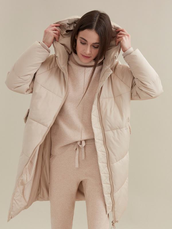 Стеганое пальто с капюшоном - фото 2