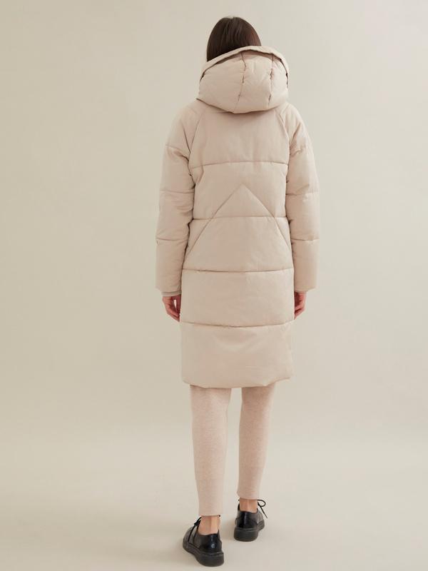 Стеганое пальто с капюшоном - фото 4