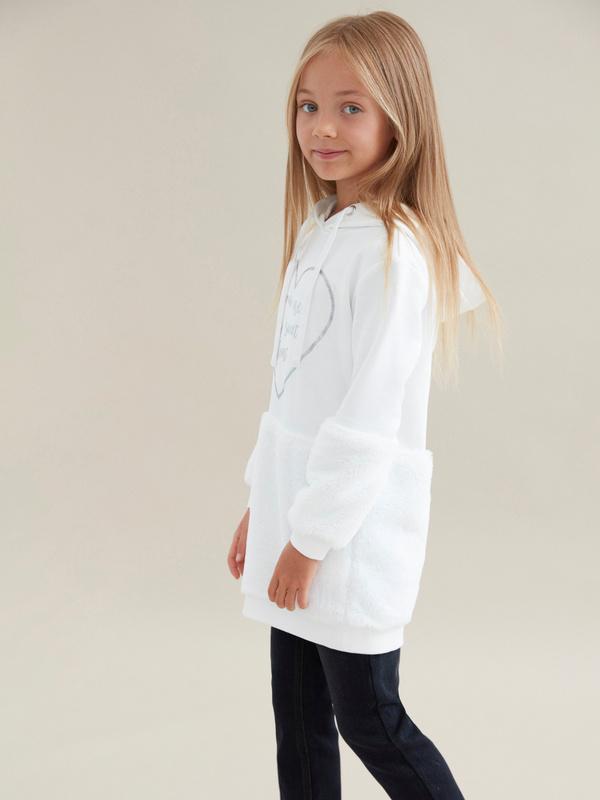 Удлиненный джемпер для девочек с капюшоном - фото 4