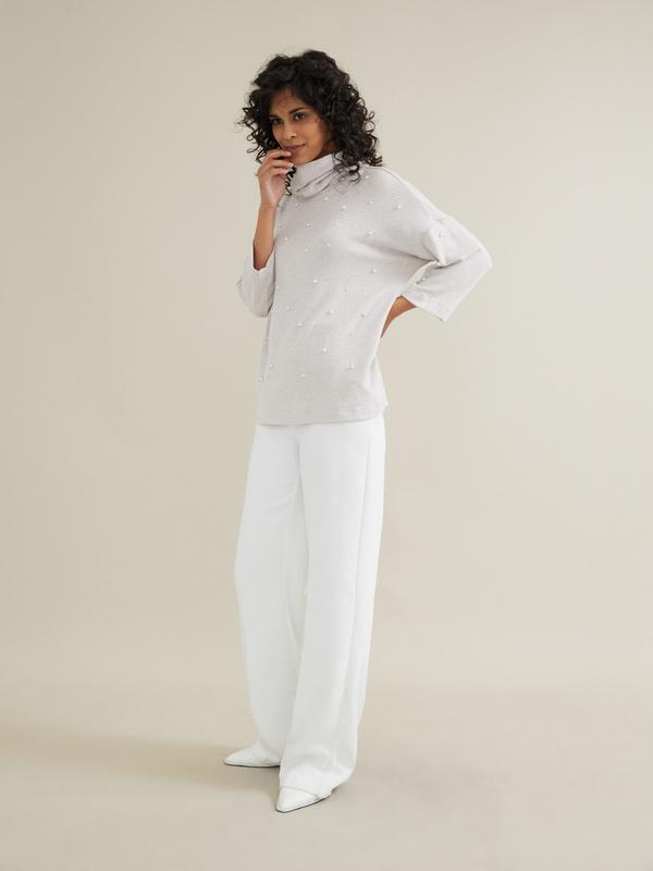 Джемпер с бусинами и рукавами клеш - фото 3