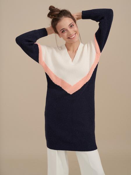 Трикотажное платье колор блок - фото 1