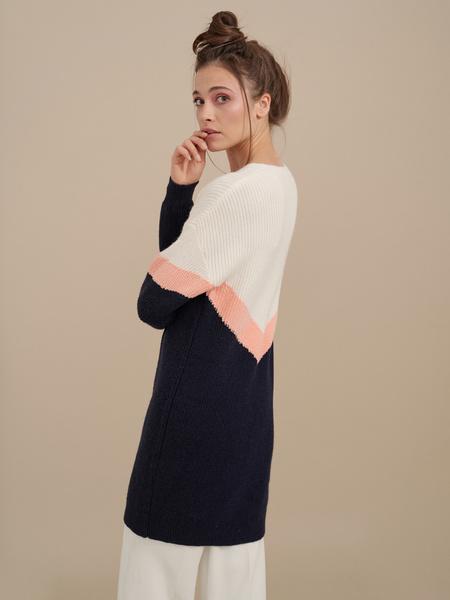 Трикотажное платье колор блок - фото 2
