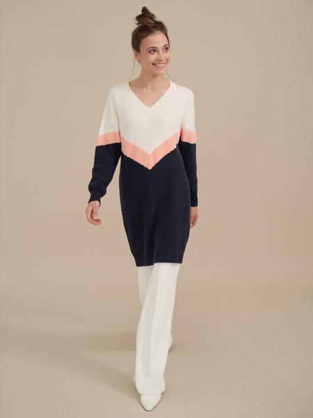 Трикотажное платье колор блок - фото 3