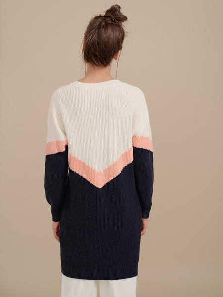 Трикотажное платье колор блок - фото 5