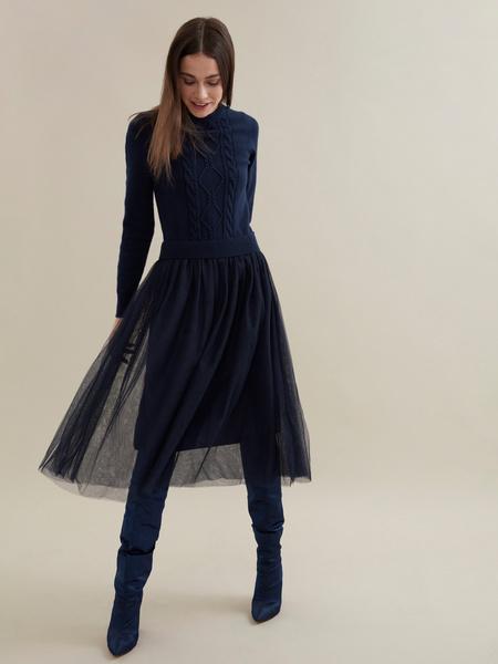Комбинированное платье с юбкой из фатина - фото 1
