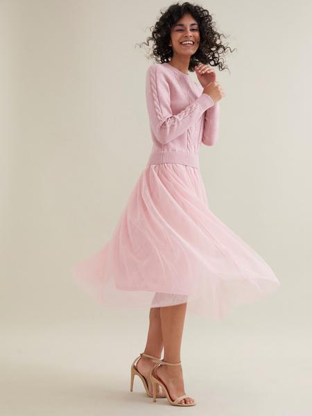 Комбинированное платье с юбкой из фатина - фото 2