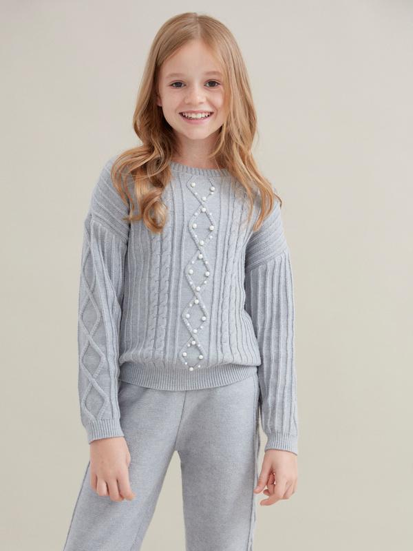 Джемпер для девочек комбинированной вязки - фото 1