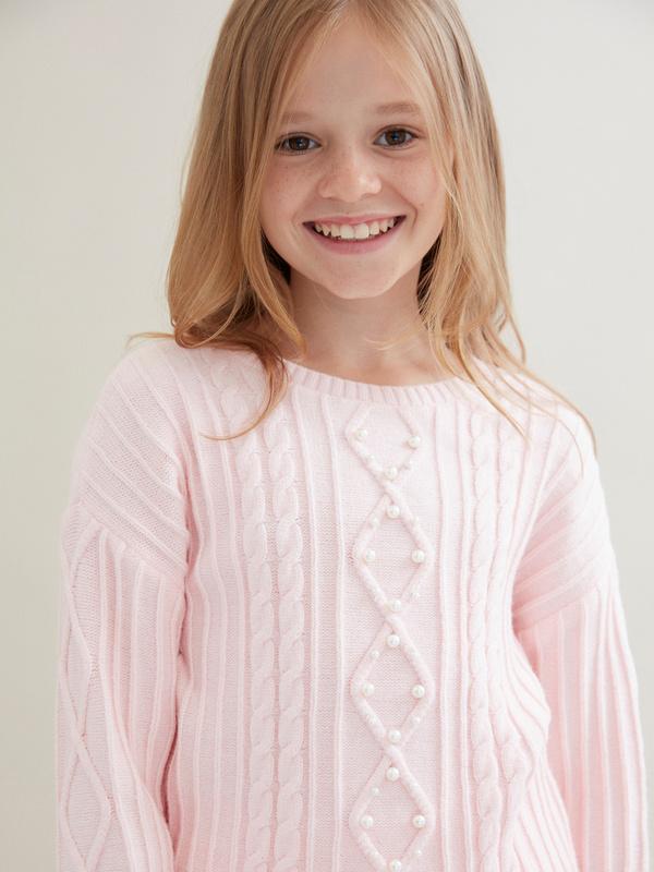 Джемпер для девочек комбинированной вязки - фото 2