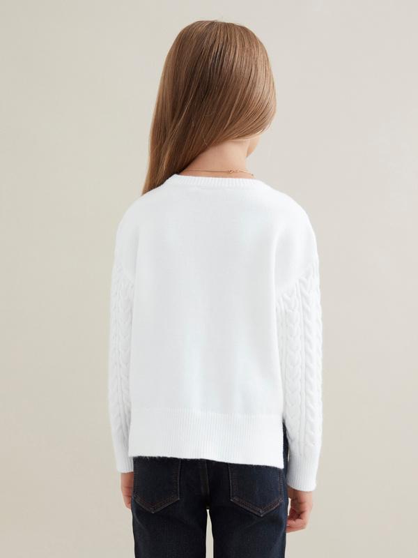 Джемпер для девочек комбинированной вязки - фото 3