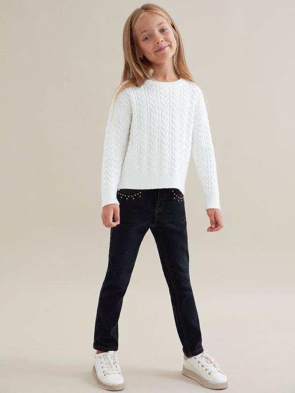 Джемпер для девочек комбинированной вязки - фото 4