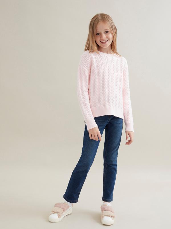Джемпер для девочек комбинированной вязки - фото 5