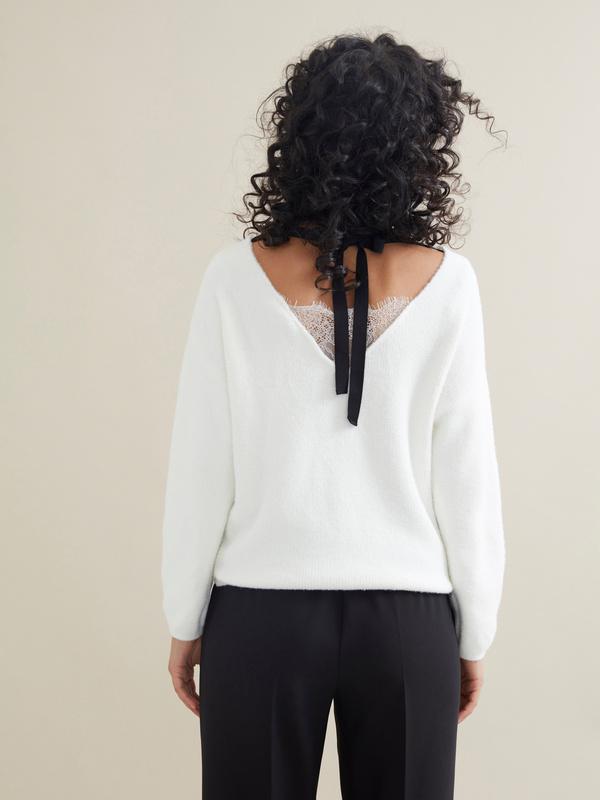 Джемпер с завязками на спине и кружевом - фото 5