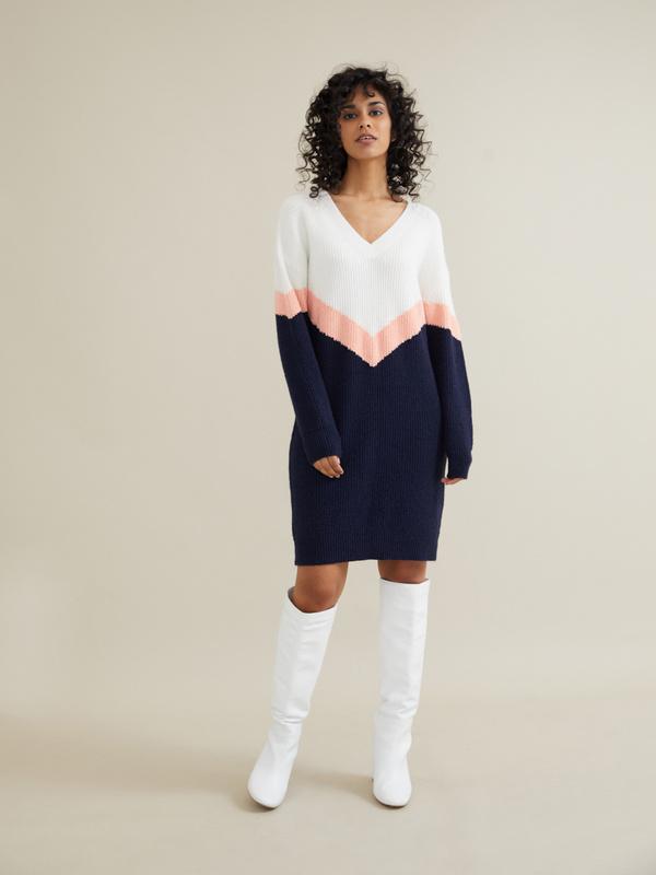 Трикотажное платье колор блок - фото 6