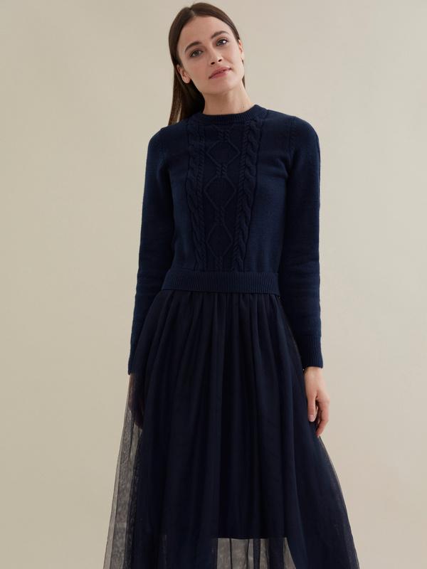 Комбинированное платье с юбкой из фатина - фото 4
