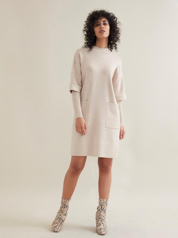 Трикотажное платье с накладными карманами - фото 1