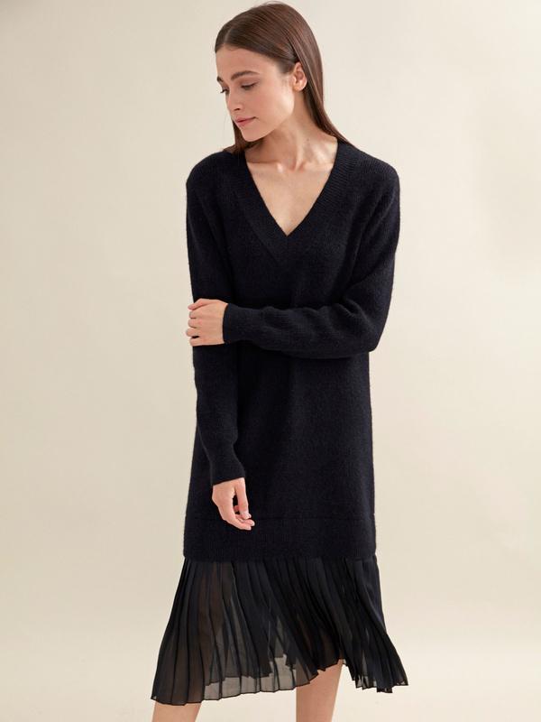 Комбинированное платье с плиссированной юбкой - фото 1