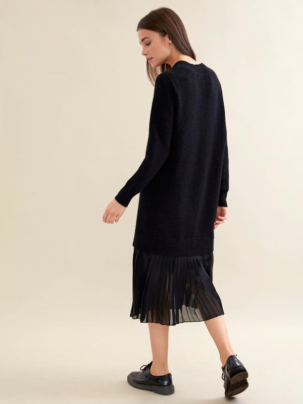 Комбинированное платье с плиссированной юбкой - фото 2