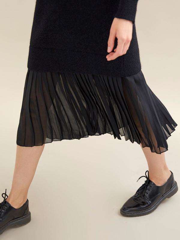Комбинированное платье с плиссированной юбкой - фото 3