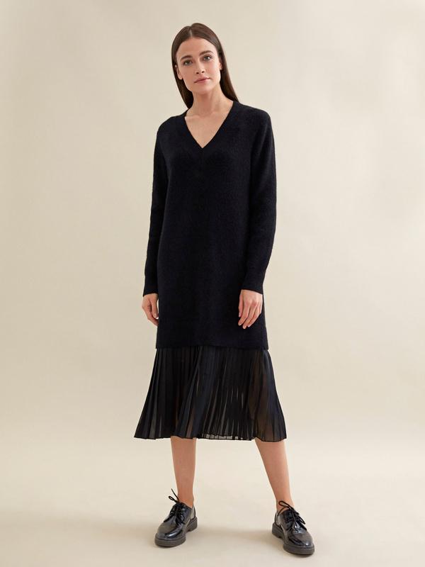 Комбинированное платье с плиссированной юбкой - фото 4