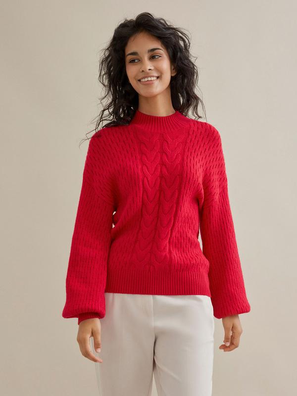 Джемпер комбинированной вязки со спущенной линией плеча - фото 1