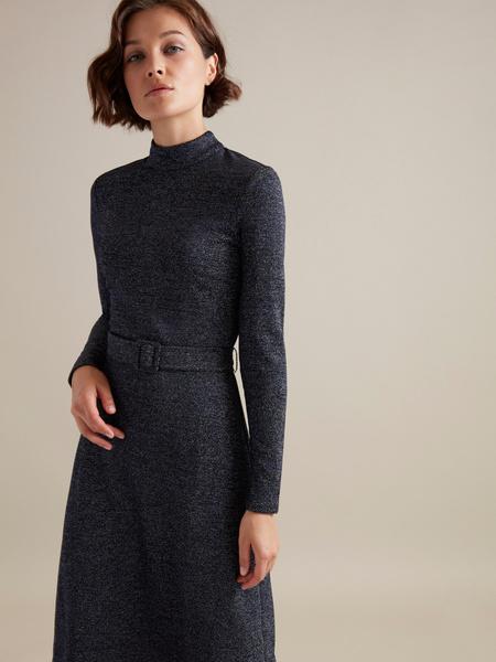 Платье-миди с люрексом - фото 1