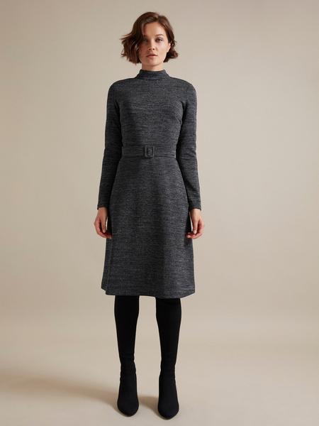 Платье-миди с люрексом - фото 2