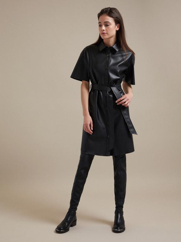 Платье-рубашка экокожа - фото 1