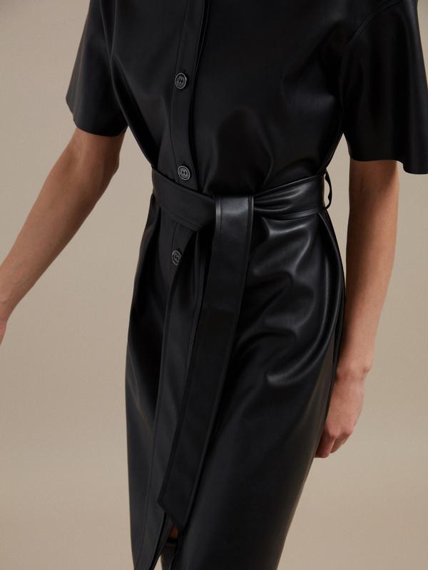 Платье-рубашка экокожа - фото 2