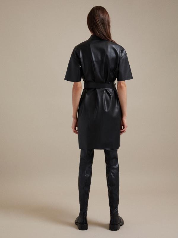 Платье-рубашка экокожа - фото 3