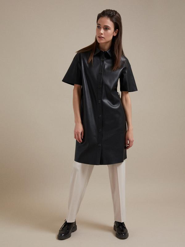 Платье-рубашка экокожа - фото 5