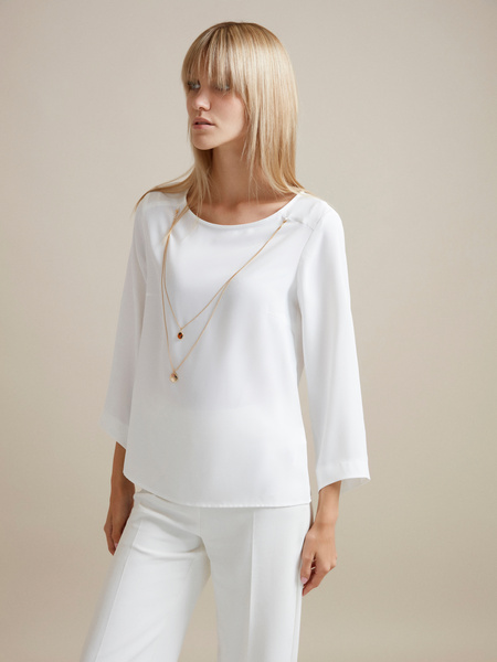 Блузка с цепочкой и рукавами клеш - фото 4
