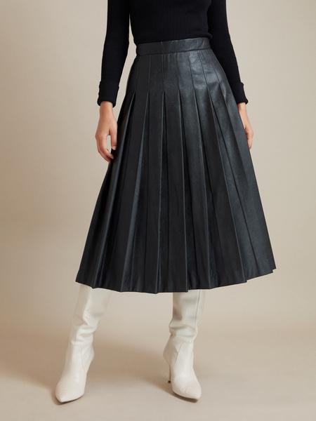 Плиссированная юбка экокожа - фото 1