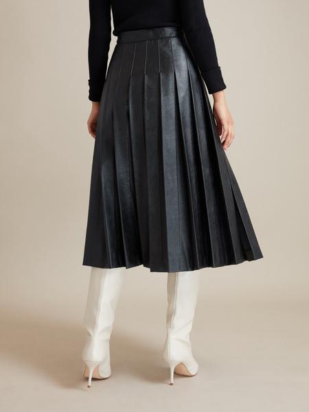 Плиссированная юбка экокожа - фото 4