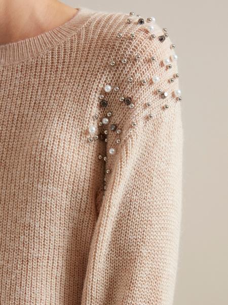 Джемпер с бусинами и рукавами-фонариками - фото 2