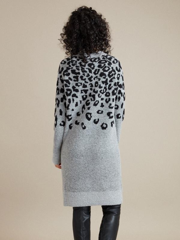 Трикотажное платье-миди с анималистичным принтом - фото 4