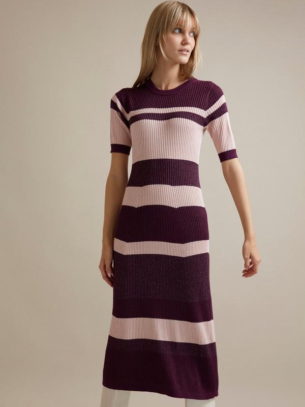 Трикотажное платье-миди с люрексом