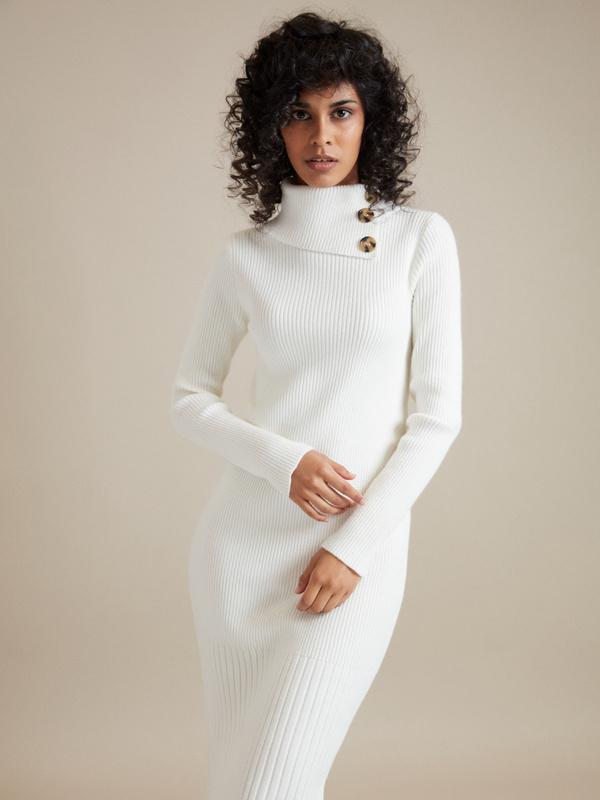 Облегающее платье-миди в рубчик - фото 1