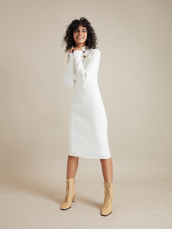 Облегающее платье-миди в рубчик - фото 2