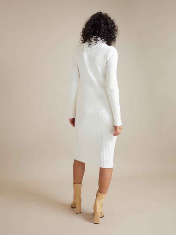 Облегающее платье-миди в рубчик - фото 4