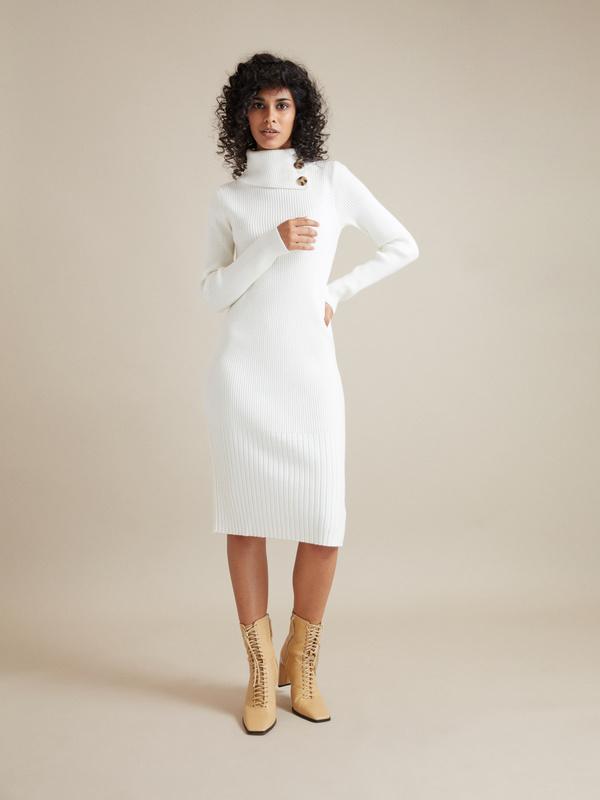 Облегающее платье-миди в рубчик - фото 5