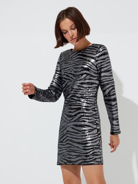 Платье с пайетками анималистичный принт - фото 3
