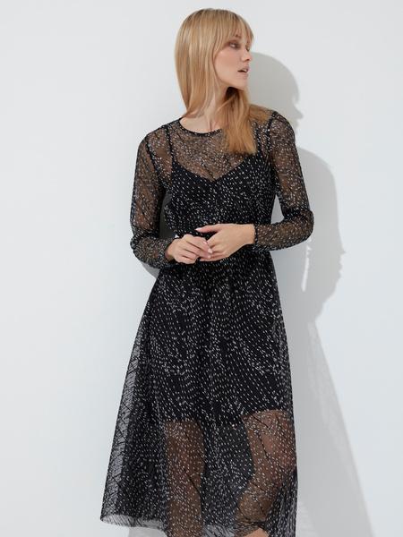 Сетчатое платье-миди - фото 1