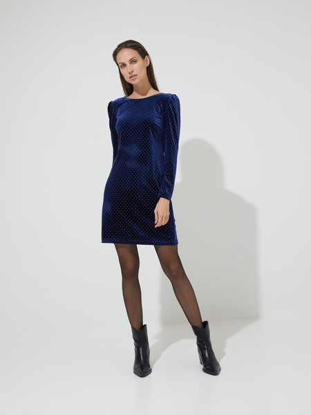Бархатное платье-мини со стразами - фото 3