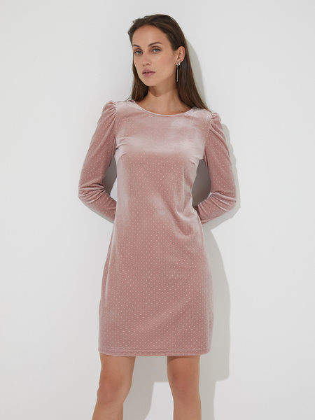 Бархатное платье-мини со стразами - фото 1