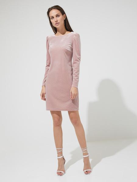 Бархатное платье-мини со стразами - фото 4