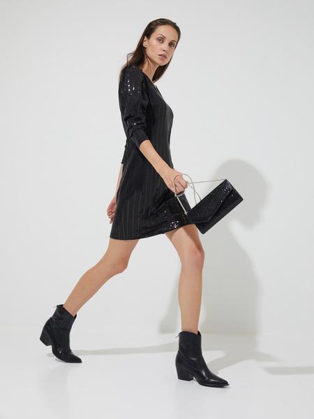 Платье-мини с рукавами фонариками - фото 5
