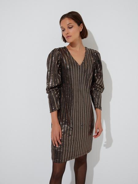 Платье-мини с рукавами фонариками - фото 2