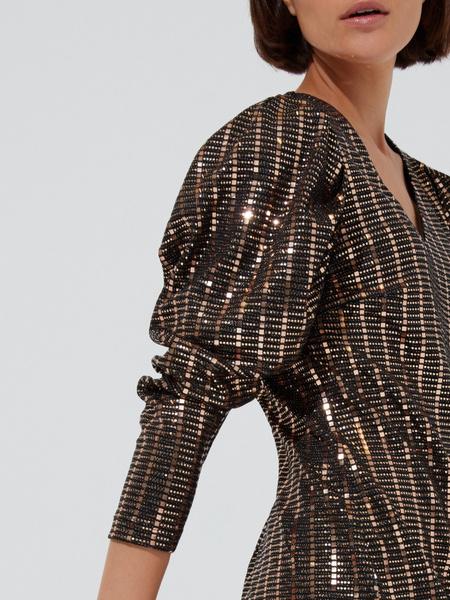 Платье-мини с рукавами фонариками - фото 3