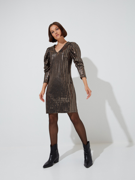 Платье-мини с рукавами фонариками - фото 4