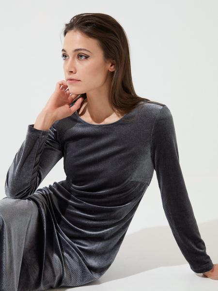 Бархатное платье-миди с разрезами - фото 1